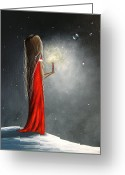 Shawna Erback Greeting Cards - Christmas Candle by Shawna Erback Greeting Card by Shawna Erback