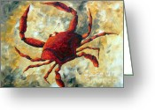 Product Painting Greeting Cards - Coastal Crab Decorative Painting Original Art Coastal Luxe CRAB By Madart Greeting Card by Megan Duncanson