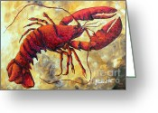 Cuisine Artwork Greeting Cards - Coastal Lobster Decorative Painting Original Art Coastal Luxe Lobster By Madart Greeting Card by Megan Duncanson