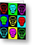Classical Masks Greeting Cards - Comedy and Tragedy Greeting Card by Jane McIlroy