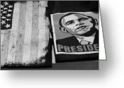 President Obama Greeting Cards - COMMERCIALIZATION OF THE PRESIDENT OF THE UNITED STATES OF AMERICA in BLACK AND WHITE Greeting Card by Rob Hans