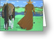 Fine_art Greeting Cards - Cowboy Caddy Greeting Card by Lance Headlee