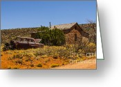Horror Car Greeting Cards - Cuervo New Mexico Ghost Town 6 Greeting Card by Deborah Smolinske