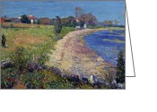Featured Greeting Cards - Curving Beach Greeting Card by William James Glackens