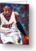 Nba Greeting Cards - D. Wade Greeting Card by Maria Arango
