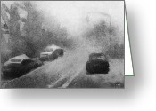 Intaglio Etching Greeting Cards - Driving Greeting Card by Steve Dininno