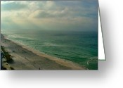 Julie Riker Dant Greeting Cards - Early Morning Light on the Gulf Greeting Card by Julie Dant