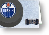 Hockey Greeting Cards - Edmonton Oilers Greeting Card by Joe Hamilton