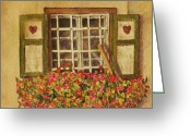 Stucco Walls Greeting Cards - Farm Window Greeting Card by Mary Ellen  Mueller-Legault