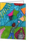 Kites Mixed Media Greeting Cards - Flight of Kites Greeting Card by Elinor Rakowski