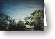 Shed Digital Art Greeting Cards - Flock Together Greeting Card by Sharon OBrien-Huey