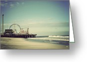 Ocean Beach Greeting Cards - Funtown Pier - Vintage Greeting Card by Terry DeLuco
