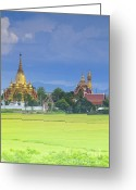 Contry Greeting Cards - Golden pagoda Greeting Card by Anek Suwannaphoom