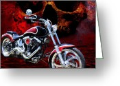 Motorbike Greeting Cards - Heaven and Hell Greeting Card by Linda Lees