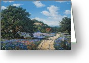 Texas Bluebonnets Greeting Cards - Hill Country Blues Greeting Card by Kyle Wood