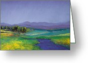 River Pastels Greeting Cards - Hills in Bloom Greeting Card by David Patterson