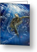 Sea Turtle Greeting Cards - Honus Dance Greeting Card by Marco Antonio Aguilar