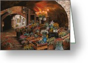 Guido Borelli Greeting Cards - Il Mercato Dei Fiori Greeting Card by Guido Borelli