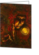 Native Portraits Greeting Cards - Inner Circle Greeting Card by Alicia Hayes