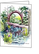 Golden Gate Painting Greeting Cards - Japanese Tea Garden San Francisco Greeting Card by Irina Sztukowski