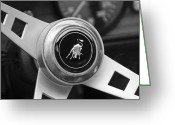 Black And White Photos Greeting Cards - Lamborghini Steering Wheel Emblem Greeting Card by Jill Reger