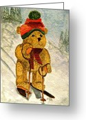 Bears Painting Greeting Cards - Learning To Ski Greeting Card by Angela Davies
