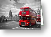 Art Of Building Digital Art Greeting Cards - London - Houses of Parliament and Red Buses Greeting Card by Melanie Viola