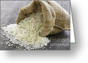 Bag Greeting Cards - Long grain rice in burlap sack Greeting Card by Elena Elisseeva