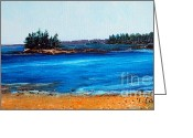 Bay Islands Painting Greeting Cards - Maine Bay Islands Greeting Card by Laura Tasheiko