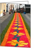 Gaspar Avila Greeting Cards - Making flower carpets Greeting Card by Gaspar Avila