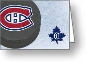 Montreal Hockey Greeting Cards - Montreal Canadians Greeting Card by Joe Hamilton