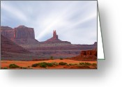 Brush Greeting Cards - Monument Valley at Sunset Greeting Card by Mike McGlothlen