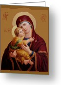 Prayer Digital Art Greeting Cards - Mother of God Greeting Card by Svitozar Nenyuk