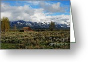 Mountain Ranges Greeting Cards - Moultons Barn 2 Greeting Card by Mel Steinhauer