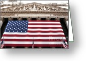 Market Greeting Cards - New York Stock Exchange Greeting Card by John Rizzuto