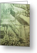 Featured Drawings Greeting Cards - Nipa Hut in Bohol Greeting Card by Bong Perez