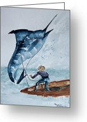 Old Man Fishing Greeting Cards - Old Man and The Sea Greeting Card by Barbara McMahon