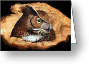 Wood Pyrography Greeting Cards - Owl on Oak Slab Greeting Card by Ron Haist