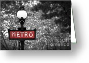 Architecture Tapestries Textiles Greeting Cards - Paris metro Greeting Card by Elena Elisseeva