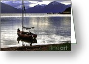 Snow-cap Greeting Cards - Peaceful Evening Greeting Card by Robert Bales