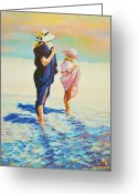 Orange Pastels Greeting Cards - Perusing The Beach After Dinner Greeting Card by Sally Buffington