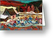 Log Cabins Painting Greeting Cards - Pond Hockey 3 Greeting Card by Carole Spandau