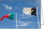 Gaspar Avila Greeting Cards - Portugal and Azores flags Greeting Card by Gaspar Avila
