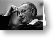 Presidential Portrait Greeting Cards - President Lyndon Johnson Greeting Card by War Is Hell Store