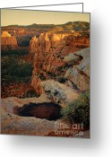 Puddle Greeting Cards - Puddle on Cliff Overlooking View of Rock Spires Greeting Card by Jill Battaglia