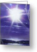 Spiritual Greeting Cards - Purple Aura Greeting Card by Christian Chapman Art