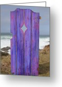 Door Sculpture Greeting Cards - Purple Gateway to the Sea Greeting Card by Asha Carolyn Young