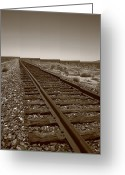 Distance Framed Prints Greeting Cards - Railroad Tracks Greeting Card by Frank Romeo