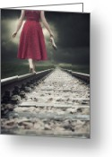 Polka Dots. Greeting Cards - Railway Tracks Greeting Card by Joana Kruse
