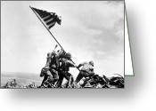 Flag Raising Greeting Cards - Raising The Flag On Iwo Jima Greeting Card by War Is Hell Store